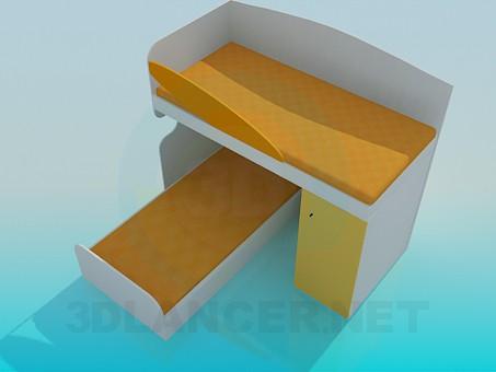 3d модель Двойная кровать в детскую спальню – превью