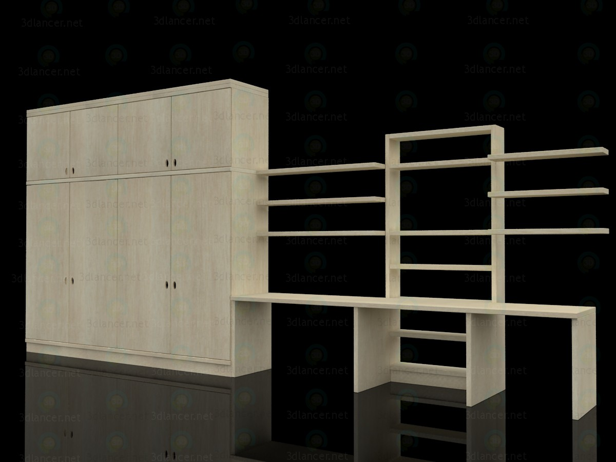 3d model Children's wall-cupboard and desk - preview