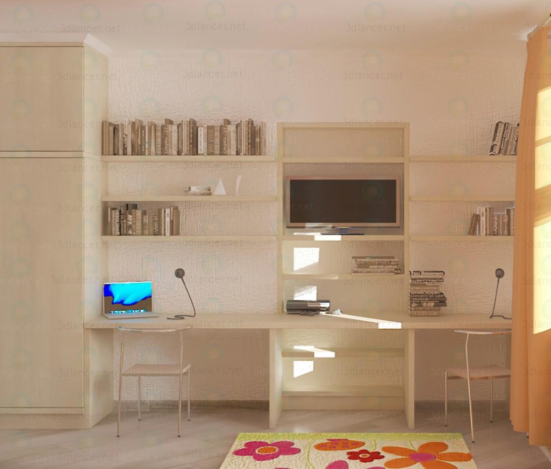 3d модель Стенка для детской - шкаф и письменный стол – превью