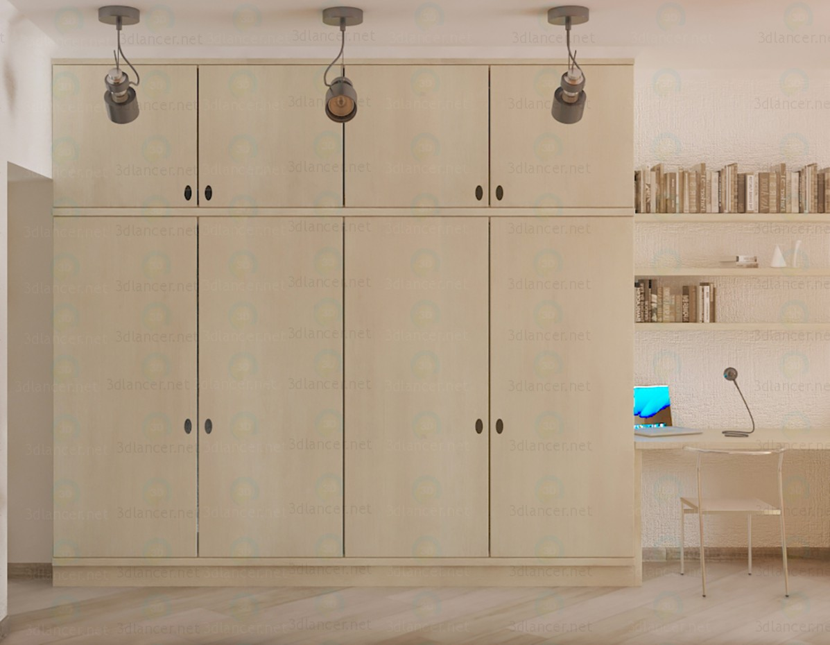 3d modeling Children's wall-cupboard and desk model free download