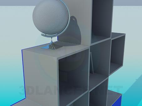 3d модель Книжный шкаф модерн – превью
