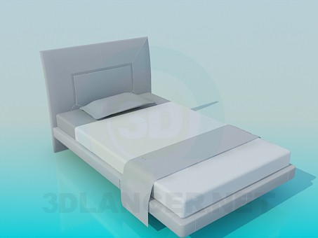 3d model twin-size bed - preview