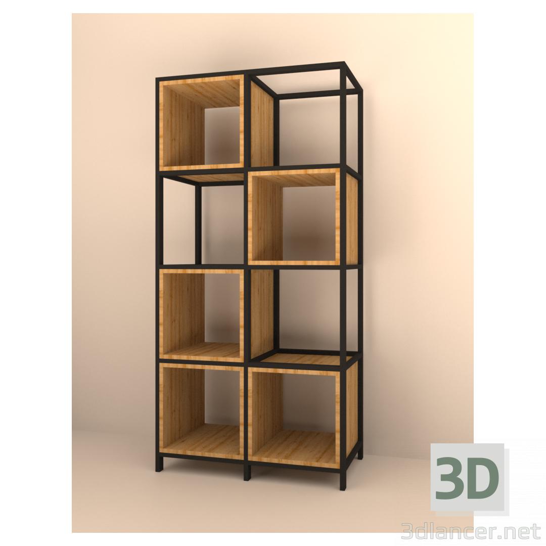 3d Shelving in loft style model buy - render