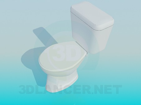 3d model Simple toilet with a tub - preview