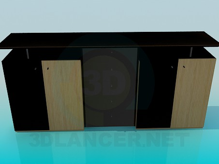 3d model Cupboard in the living room with TV - preview