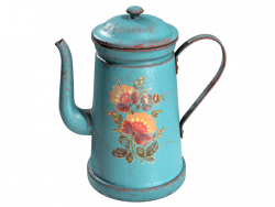 Retro coffee pot with grunge texture