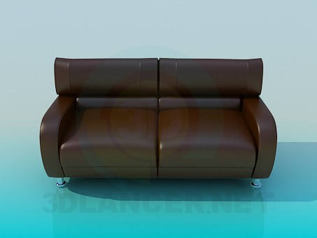 3d model Brown leather sofa - preview