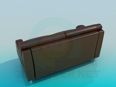3d модель Коричневый кожаный диван – превью