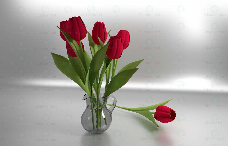 3D-Modellierung Krug mit Tulpen Modell kostenlos herunterladen