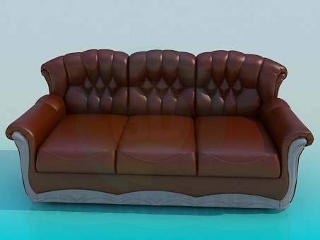 3d modeling Leather sofa of three sections model free download