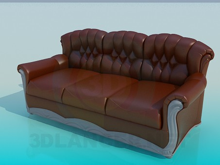 3d model Leather sofa of three sections - preview