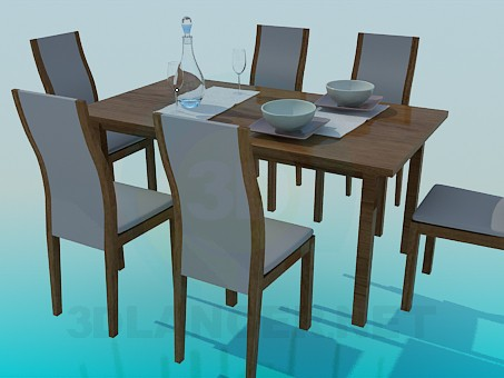3d modeling Dining table for 6 persons model free download