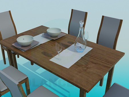 3d model Dining table for 6 persons - preview