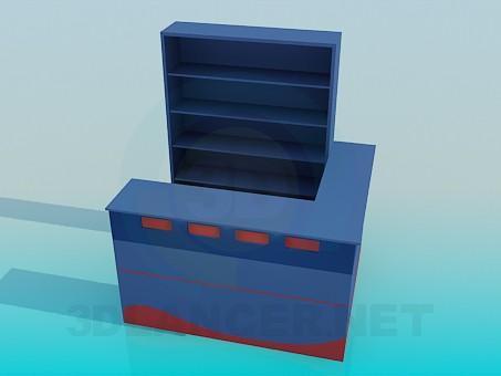 3d моделирование Стойка ресепшн со стеллажом модель скачать бесплатно