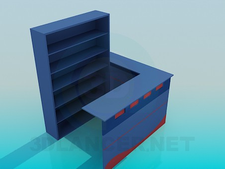 3d model Reception desk with shelving - preview