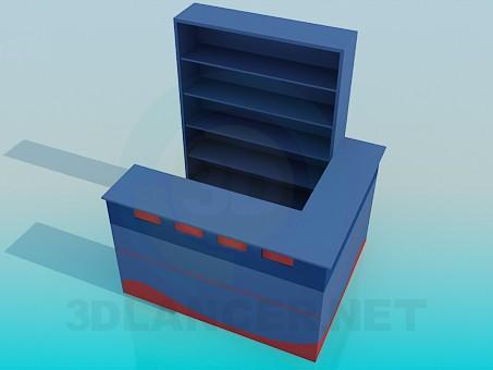 3d модель Стійка ресепшн зі стелажем – превью