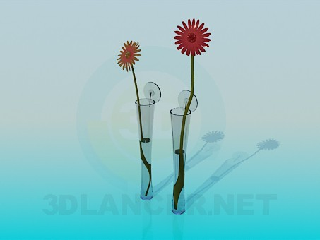 3d modeling Narrow flower vases model free download