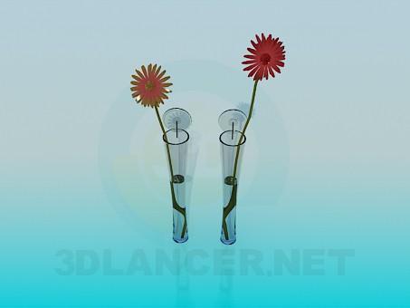 3d модель Узкие вазы для цветов – превью