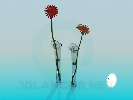 3d model Narrow flower vases - preview