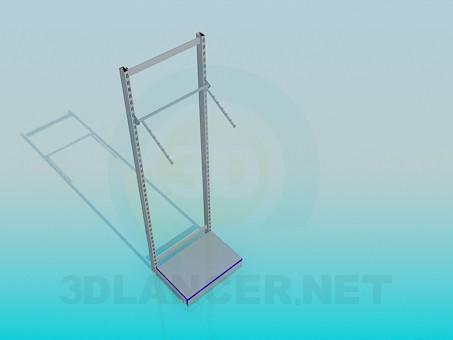 modelo 3D Pared de la estantería para ropa - escuchar