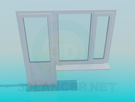 3d model Balcony door and window - preview