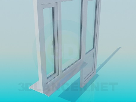 modelo 3D Ventana y puerta del balcón - escuchar