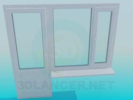 3d модель Балконная дверь и окно – превью