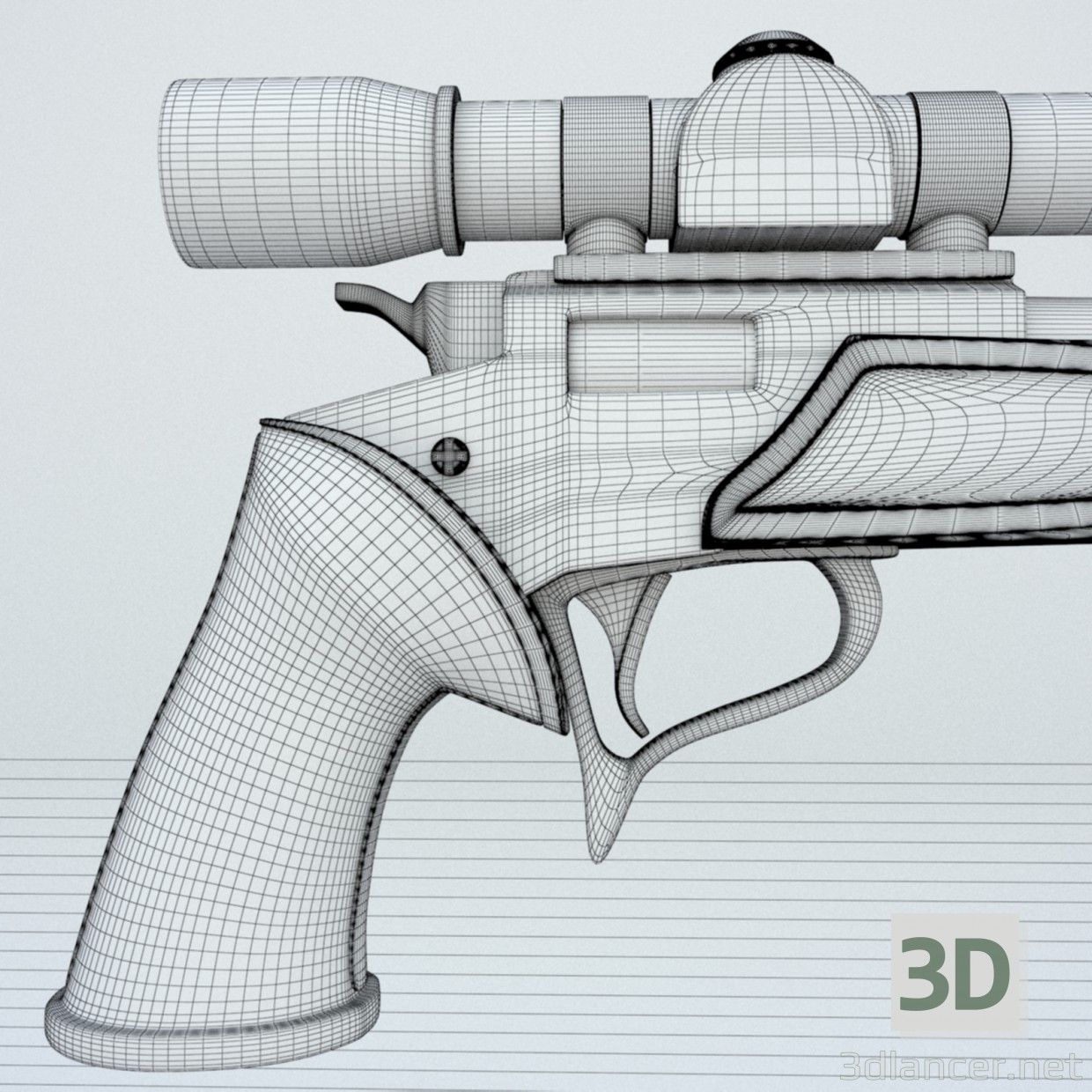 3d A gun with telescopic sight. Zone II with an optical sight. model buy - render