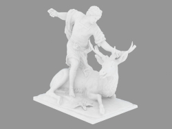 Scultura in marmo Meleagro che uccide un cervo