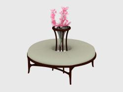 Round puff with flower stand (art. JSL 3708)