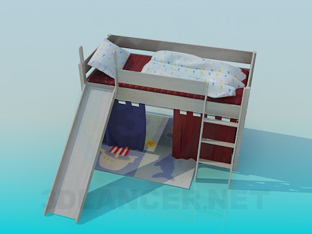 descarga gratuita de 3D modelado modelo Cama de bebé con la diapositiva