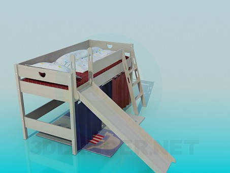 3d модель Детская кровать с горкой – превью