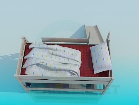 modelo 3D Cama de bebé con la diapositiva - escuchar
