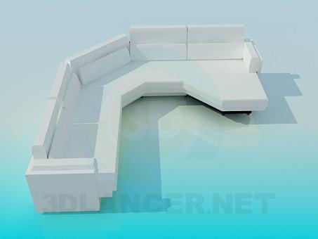 3d модель Длинный угловой диван – превью