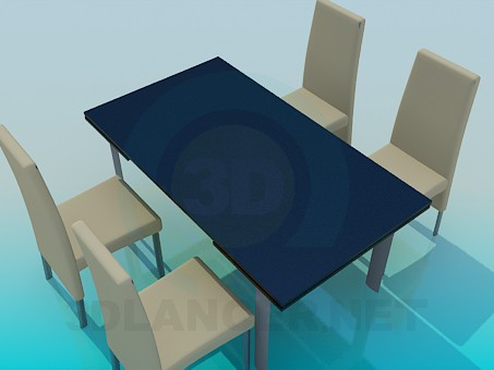 3d model Table and chairs set - preview