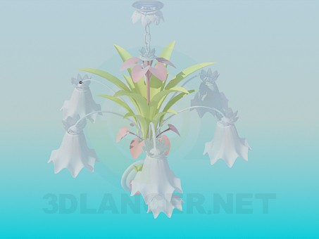 3d modeling Delicate chandelier with flower and sconce model free download