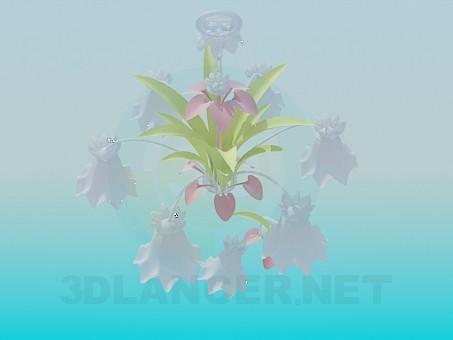 modelo 3D Delicada lámpara con aplique de la flor y - escuchar