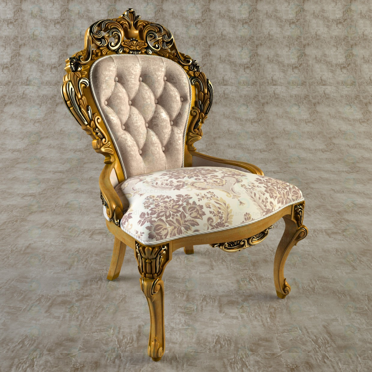 3d Carved chair model buy - render