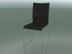 Chair with high backrest on sled, with leather upholstery (108)