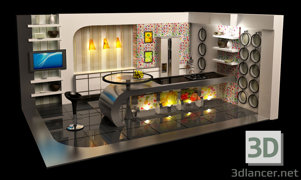 3d Virtual TV kitchen Studio Broadcast model buy - render