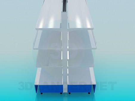 3d модель Стеллаж островной металлический – превью