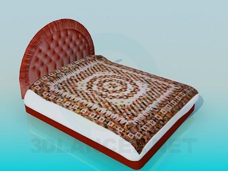 modelo 3D Cama con la cabeza suave de la cama - escuchar