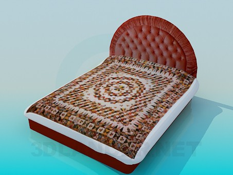 3d model Bed with soft head of the bed - preview