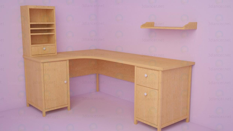 3d моделирование Угловой компьютерный стол модель скачать бесплатно