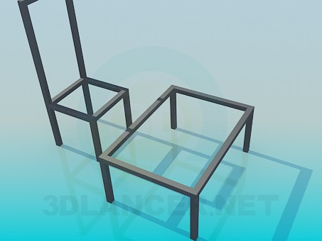 3d model Table stool set - preview