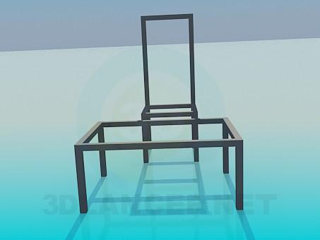 modelo 3D Conjunto de taburete de la mesa - escuchar