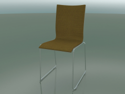 Chair with high back on a sled, with fabric upholstery (108)