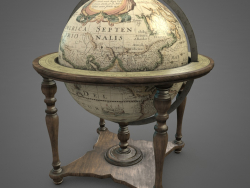 Vintage world globe on wooden stand pbr Low-poly 3D model