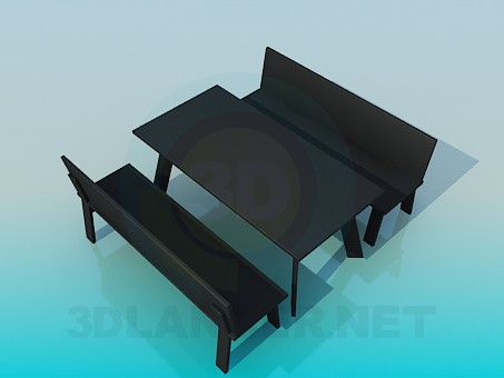 3d model Table and bench - preview