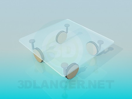 3d model Coffee table with big wheels - preview